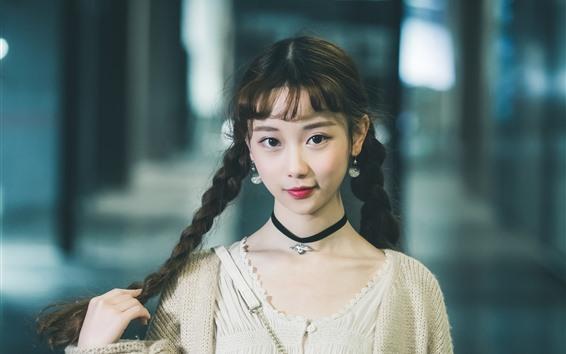 Papéis de Parede Sorria menina chinesa, olha, tranças