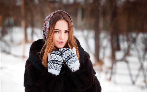Wallpaper Smile girl, gloves, winter