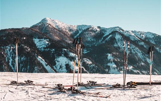 Papéis de Parede Neve, montanhas, esqui, inverno