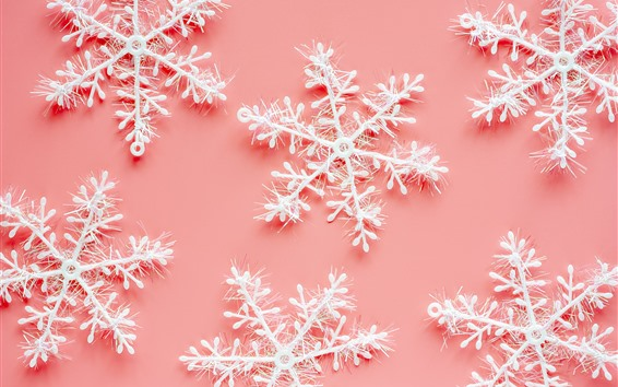 Wallpaper Snowflakes, pink background, decoration