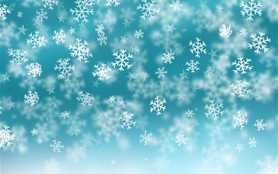 Wallpaper Snowflakes, stars, blue background