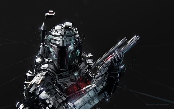 배경 화면 군인, 로봇, 창조적 인 그림
