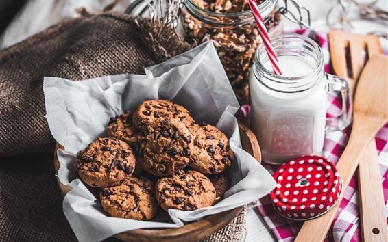 Papéis de Parede Alguns biscoitos, leite, alimentos