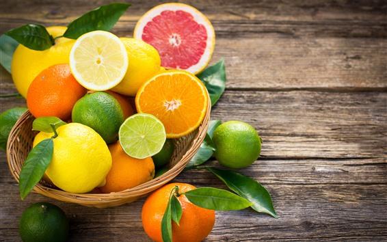 배경 화면 일부 과일, 감귤, 오렌지, 라임, 레몬, 자몽
