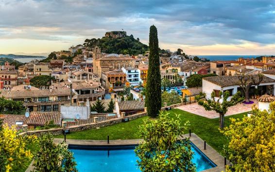 Papéis de Parede Espanha, catalonia, cidade, árvores, casas, mar, piscina