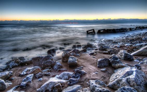 Обои Камни, побережье, море, облака