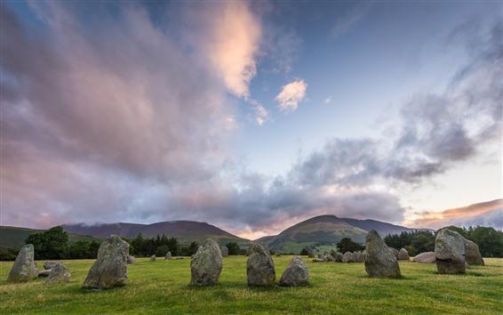 Wallpaper Stones, grass, mountains, sky, clouds