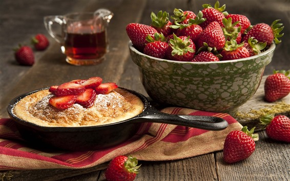 Fondos de pantalla Fresas, pasteles, comida