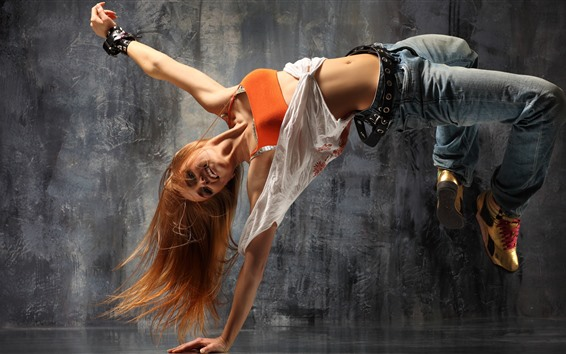 Papéis de Parede Garota loira de dança de rua