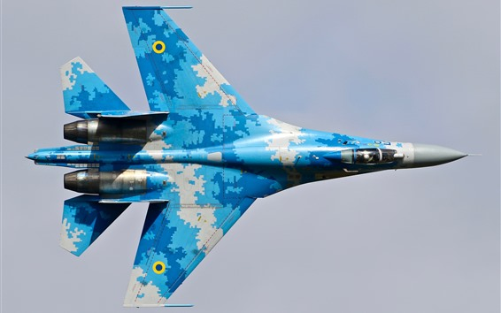 Wallpaper Su-27 fighter, blue, wings, top view