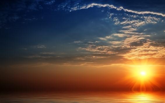 Fondos de pantalla Puesta de sol, mar, rayos de sol, cielo, nubes.