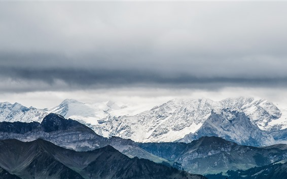 Fondos de pantalla Suiza, Pilatus, montañas, nieve, nubes
