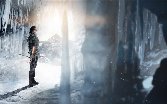 Wallpaper Tomb Raider, Lara Croft, ice, snow, sunshine