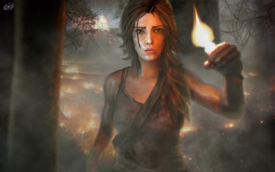 Hintergrundbilder Grab Raider, Lara, Mädchen, Feuer, Wald