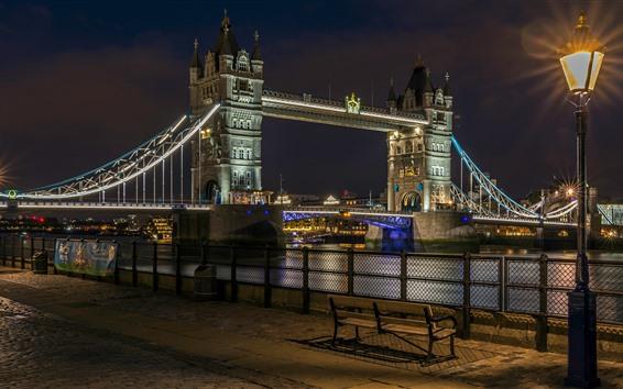 Fondos de pantalla Puente de la torre, río, calle, lámparas, noche, Inglaterra, Londres