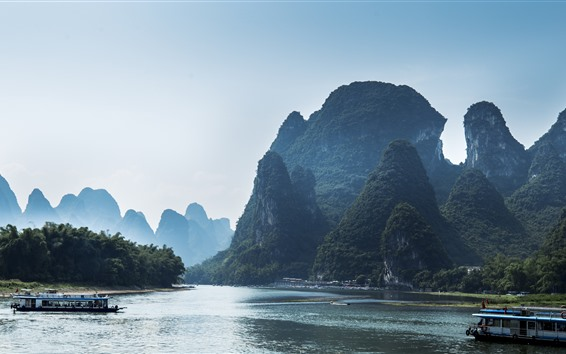 Wallpaper Travel to China, Lijiang, mountains, river, boats, beautiful nature landscape