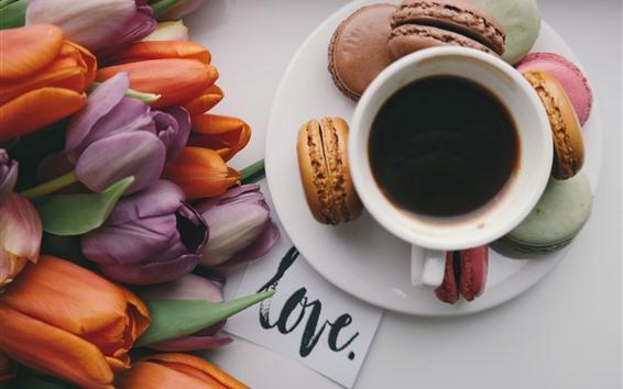 Fondos de pantalla Tulipanes, café, macaron.