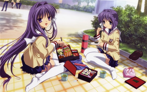 Fondos de pantalla Dos chicas Anime comedor