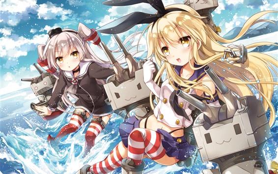 Fondos de pantalla Dos chicas anime, robot, mar