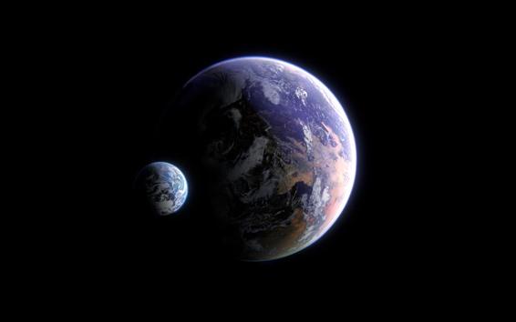 Fonds Décran Deux Planètes Espace Fond Noir 2560x1440 Qhd