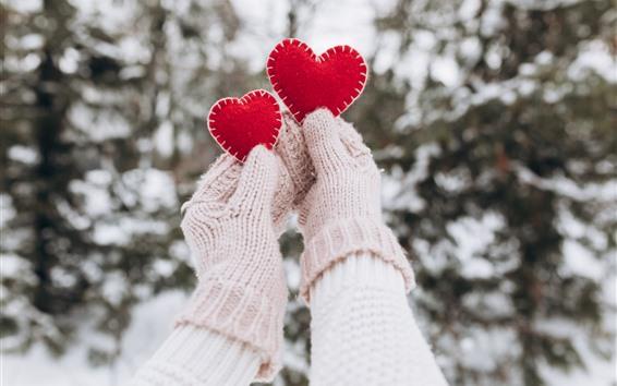 Fond d'écran Deux coeurs rouges d'amour, mains, gants