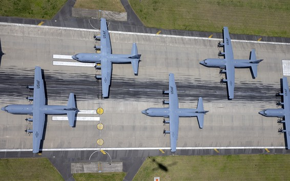 Wallpaper USAF, Military Transport planes, top view