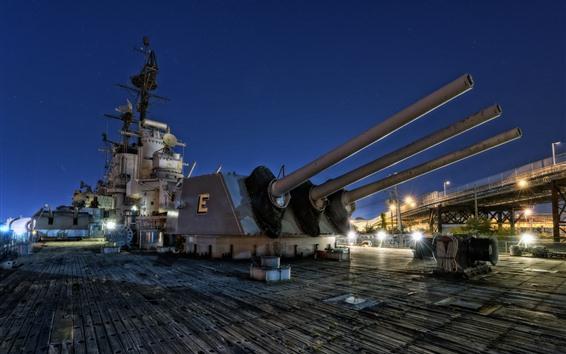 Papéis de Parede USS Salem CA-139 pesados cruzadores, noite