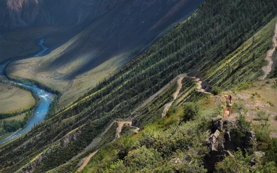 壁紙 谷、山、斜面、女の子