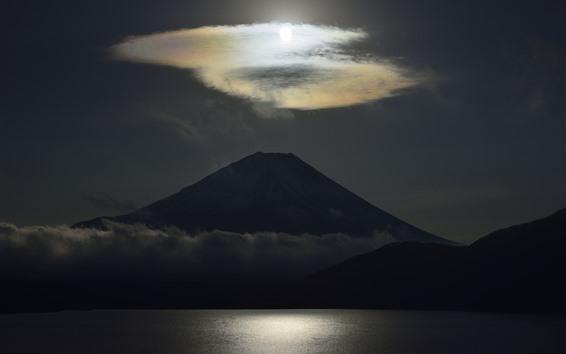 배경 화면 화산, 구름, 호수, 어둠, 일본