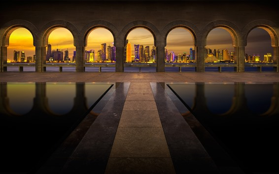 Fondos de pantalla Pasarela, arco, ciudad, rascacielos, luces, noche