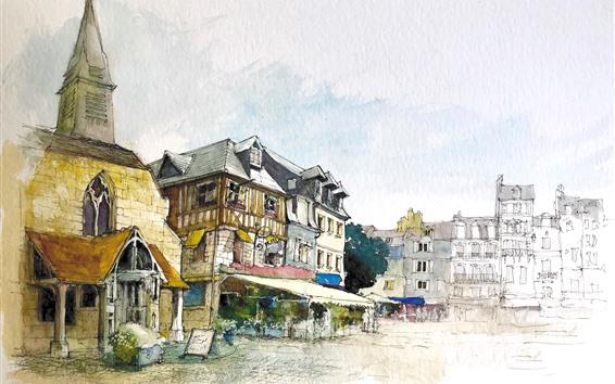 Papéis de Parede Pintura em aquarela, cidade, casas