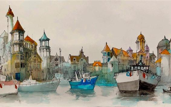 Papéis de Parede Pintura da aguarela, Porto, barcos, casas