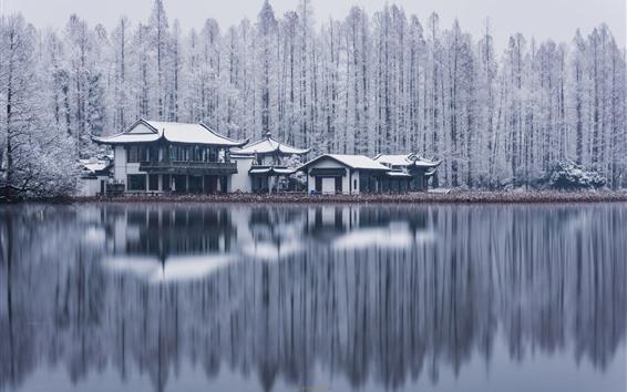 Wallpaper West Lake, Hangzhou, trees, buildings, snow, winter, China