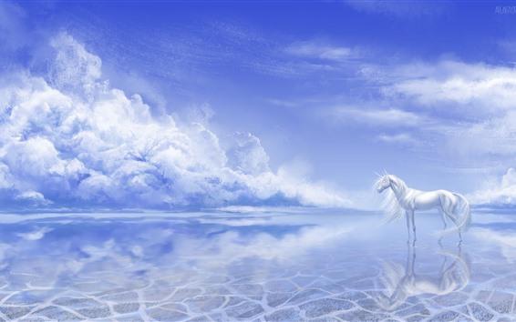 Wallpaper White unicorn, lake, clouds, art picture