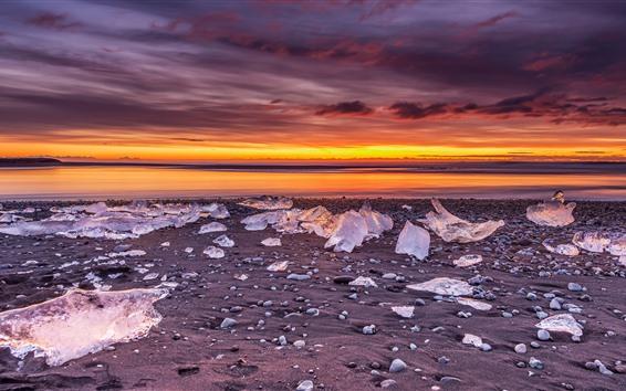 Fondos de pantalla Invierno, cubitos de hielo, mar, puesta de sol