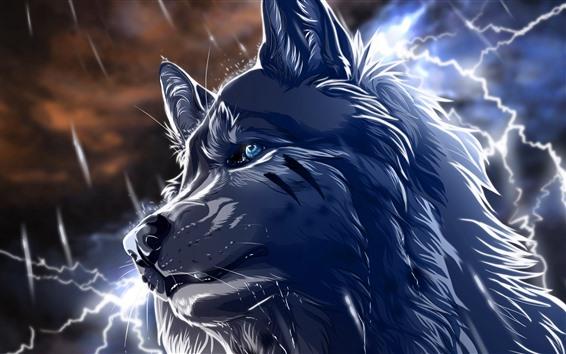 Fondos de pantalla Lobo, ojos azules, relámpago, cuadro del arte