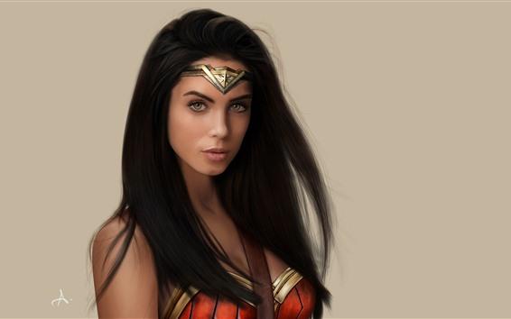 Fondos de pantalla Mujer maravilla, superhéroe, pelo largo.