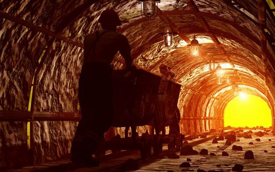 Fondos de pantalla Trabajador, túnel, minería, pista