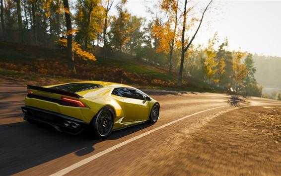 Fondos de pantalla Velocidad del supercar Lamborghini amarillo, Forza Horizon