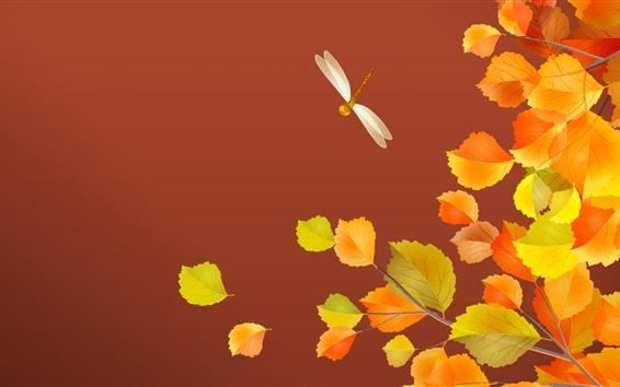 Hintergrundbilder Gelbe Blätter, Libelle, Herbst, Kunstbild