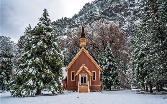 Wallpaper Yosemite National Park, house, trees, snow, winter, USA