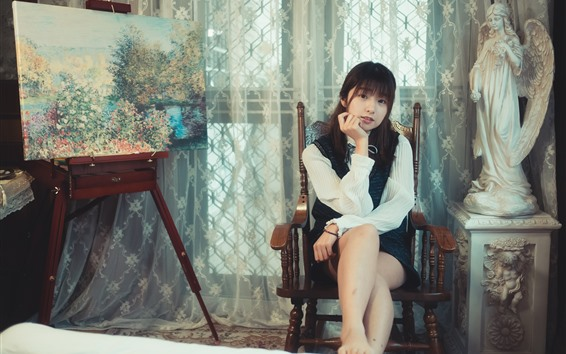 Wallpaper Young Asian girl, chair, statue, painting, room