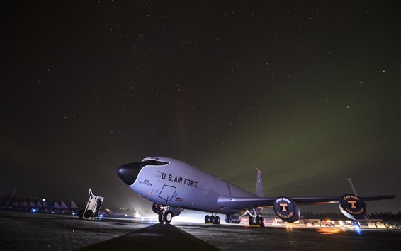 Wallpaper Aircraft, airport, USAF, night, starry