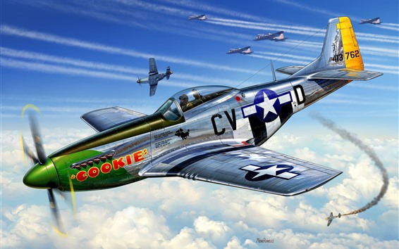 Wallpaper Aircraft, sky, retro style, art picture