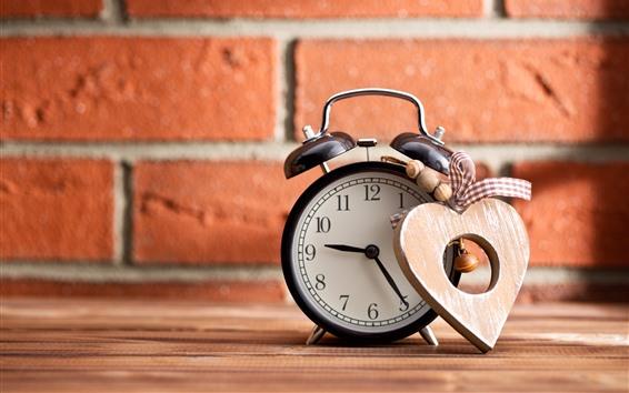 Wallpaper Alarm clock, love heart, bricks wall