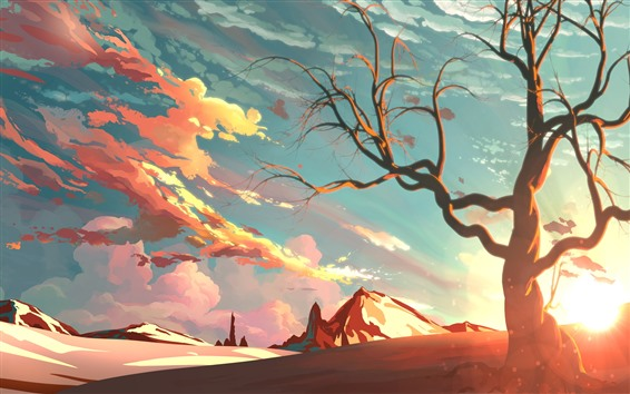 Wallpaper Art painting, sunshine, tree, mountain, sky, clouds