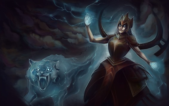 Wallpaper Art picture, woman and wolf, magic