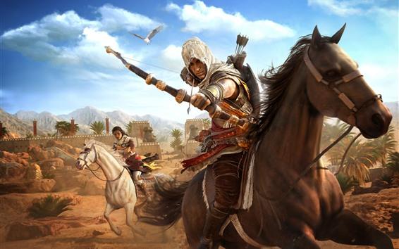 Papéis de Parede Assassin's Creed: Origins, cavalo, arco, deserto