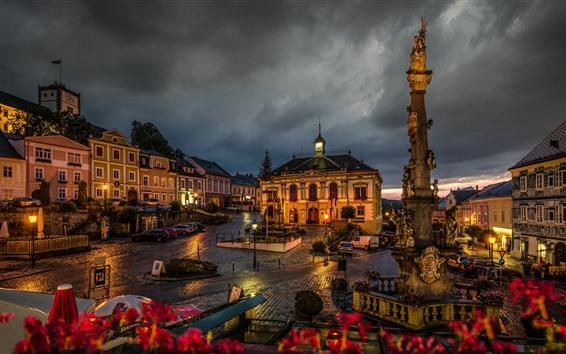 Papéis de Parede Áustria, vitra, cidade, à noite, casas, luzes