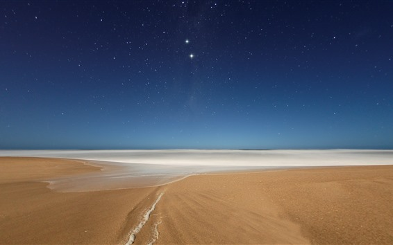 Wallpaper Beach, foam, sea, starry